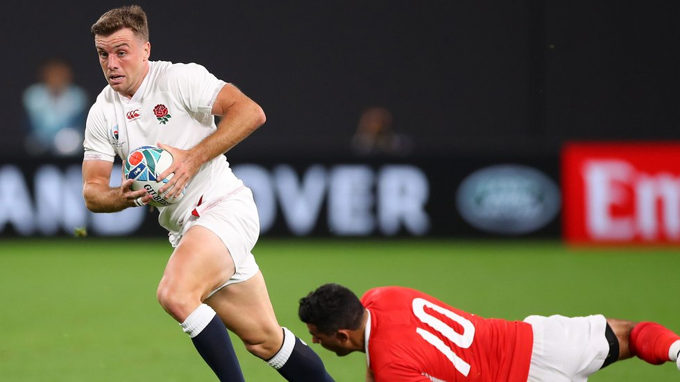 George Ford leaves Tonga fly-half Kurt Morath behind in the Rugby World Cup 2019 fixture between England and Tonga in Japan