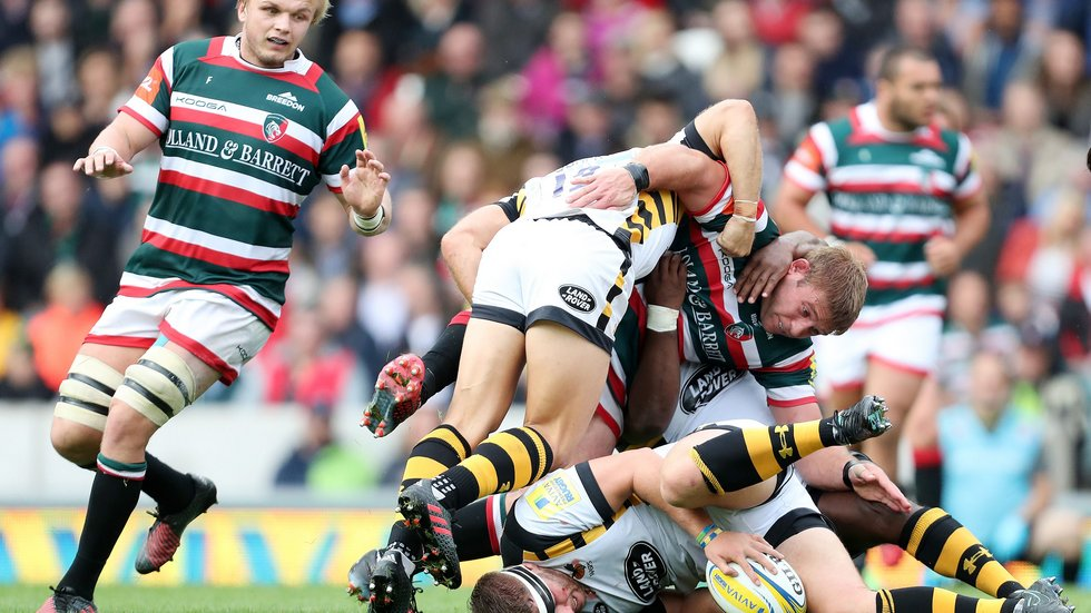 Tom Youngs takes on Wasps in the home game during last season