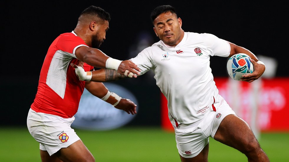Manu Tuilagi fends away a Tongan defender in the Rugby World Cup 2019 Pool C fixture in Japan, which the England centre scored a double before being voted Man of the Match