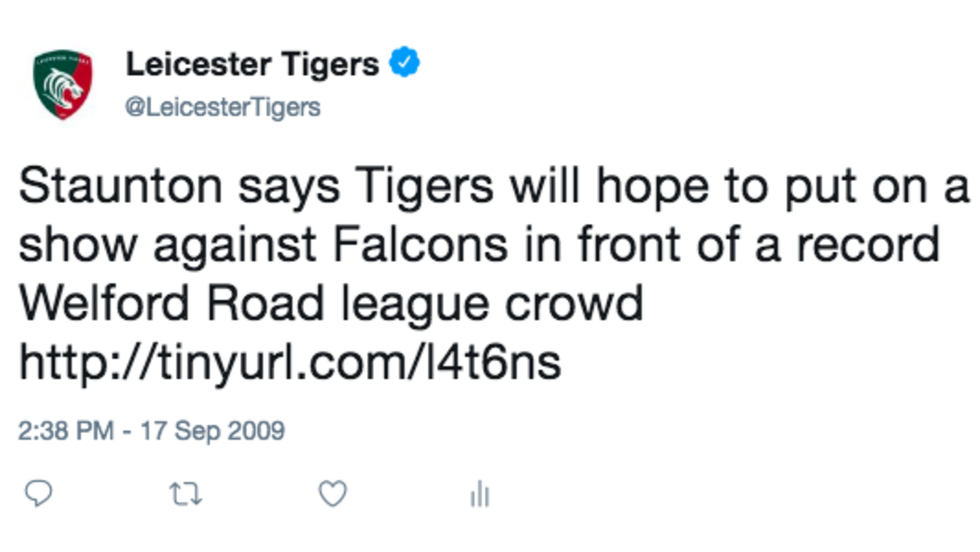 The first Tweet sent by @LeicesterTigers in September, 2009.