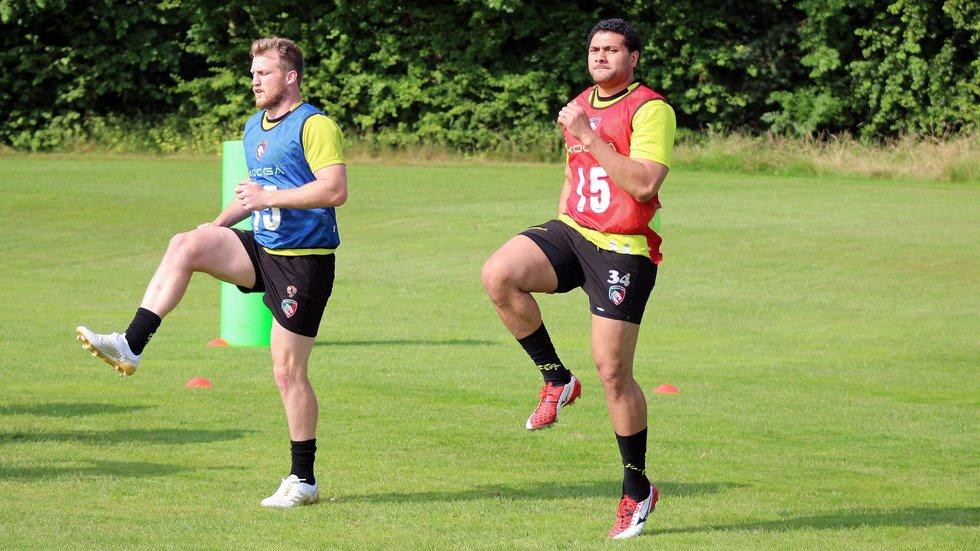 Sione Kalamafoni working hard alongside Brendon O'Connor during pre-season