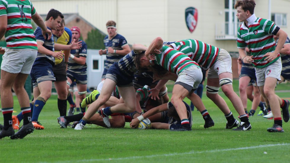 The Tigers Academy defends their line against Bristol in the pre-season fixture at Oval Park