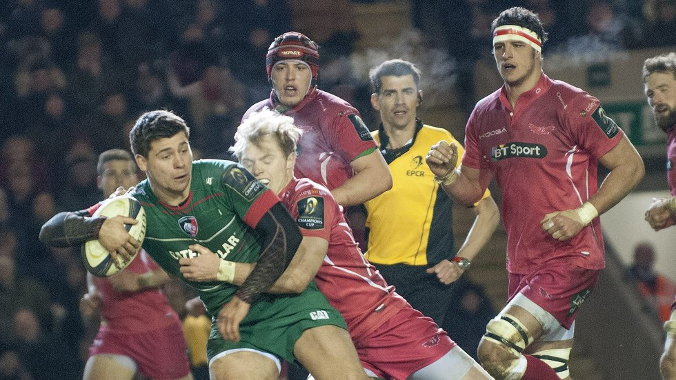 Ben Youngs makes a break during the Scarlets' visit to Welford Road in the 2015 European campaign