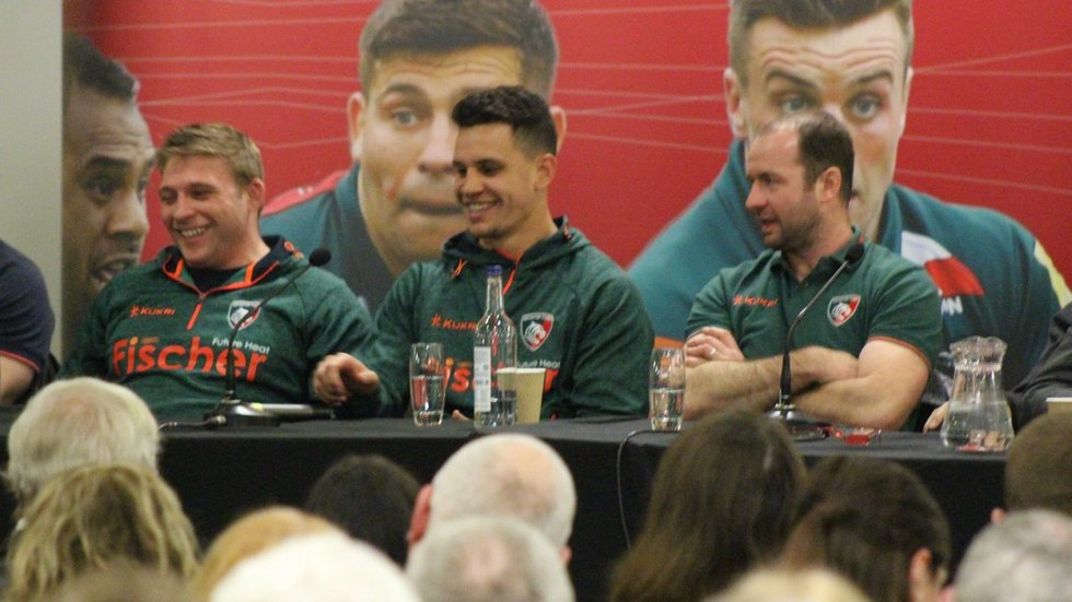 Tom Youngs and Matt Toomua share a joke with supporters during the Open Forum