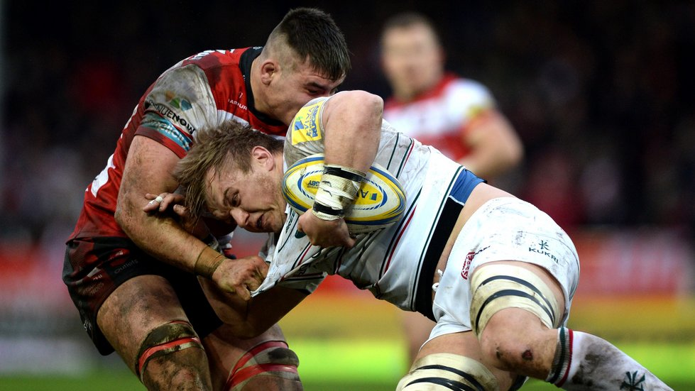 Luke Hamilton carries ball for Tigers in the defeat at Gloucester