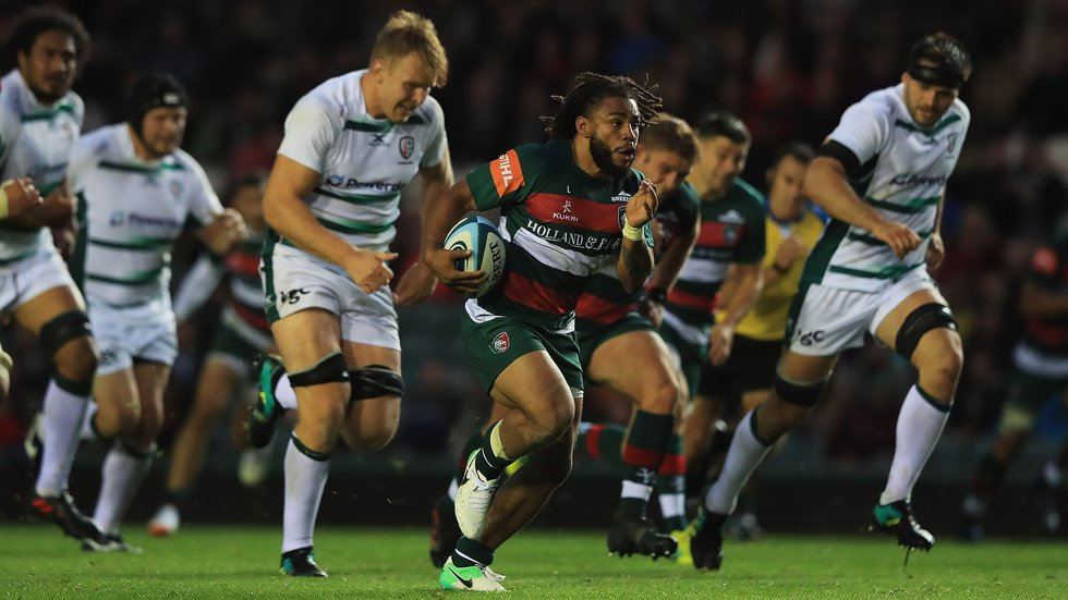 Kyle Eastmond breaks the line against London Irish at Welford Road before setting up Ben Youngs for a try in the 2018/19 pre-season fixture