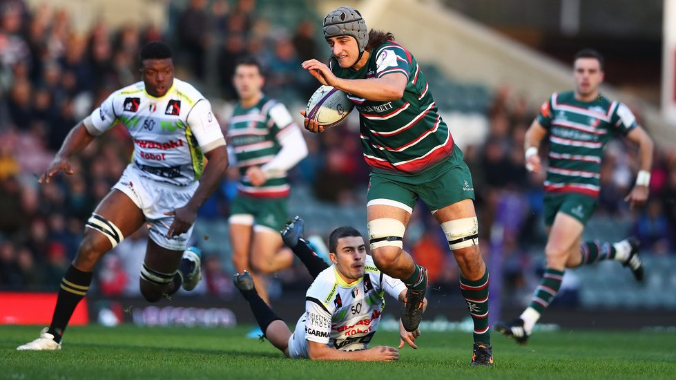 Sam Lewis on a run towards the tryline in the European win over Pau at Welford Road