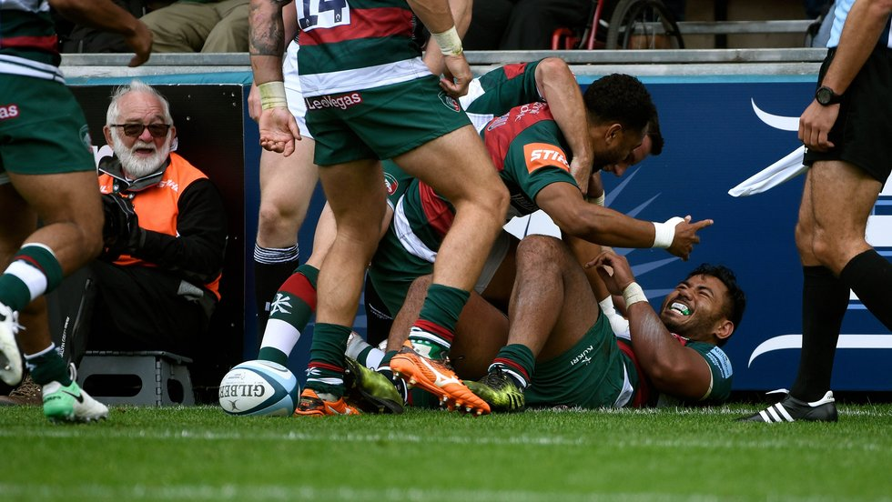 Telusa Veainu and Manu Tuilagi celebrate the centre's rampaging run to the line in the win over Newcastle