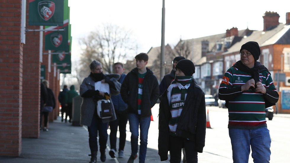 Supporters make their way to the stadium in February 2020 before Covid struck