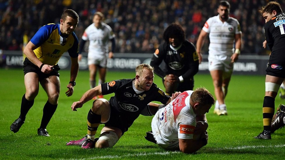 Tom Youngs scores for Tigers in the league visit to Wasps earlier in the season