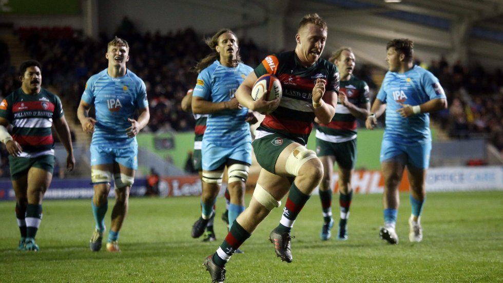 Tommy Reffell claimed his first try in senior rugby for Tigers in the Premierrship Cup game against Worcester Warriors