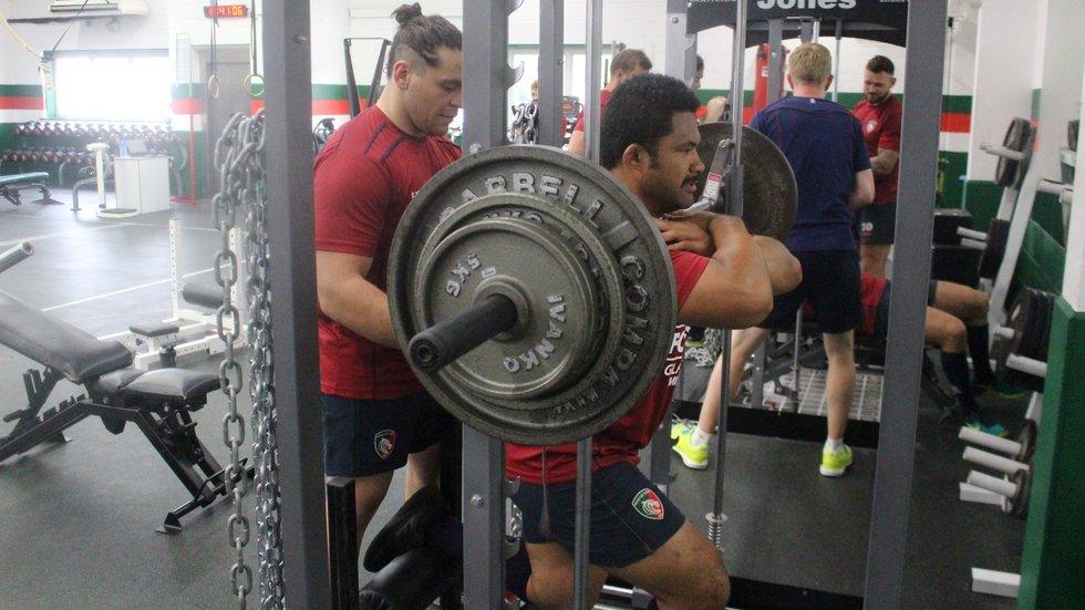 Front-rowers Gaston Cortes and Tatafu Polota-Nau working side by side in the Tigers gym.