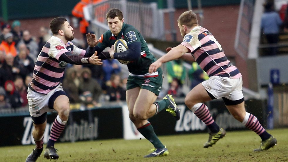 Jonah Holmes makes a break for Tigers in the win over Cardiff Blues