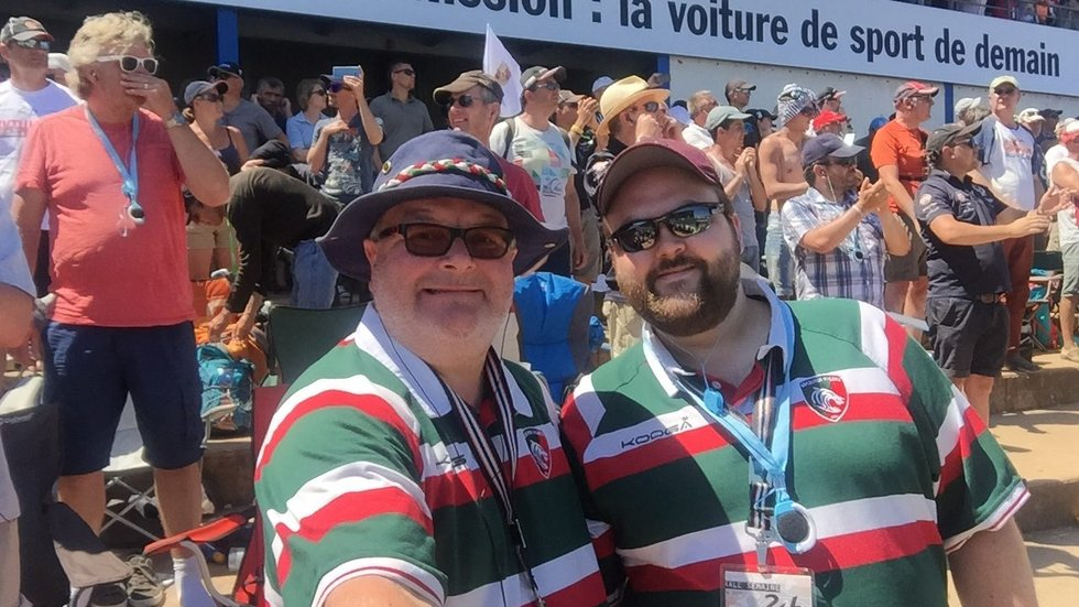 Paul and Jay Carter wearing their Tigers stripes at Le Man