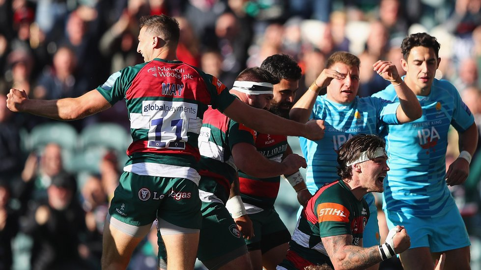 Guy Thompson scores the first Tigers try to inspire the fightback at Welford Road