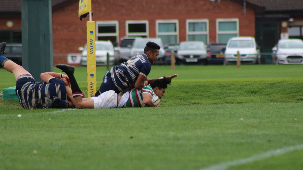 Tigers winger Luke Phoenix scores the first of two tries in the win over Bristol at Oval Park