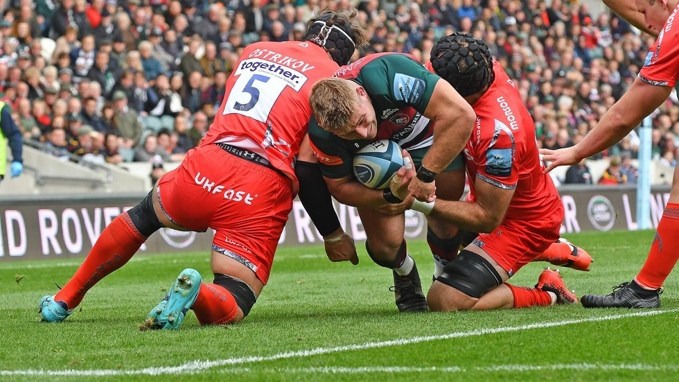 Tom Youngs carries into the heart of the Sharks defence during the home win over Sale last season