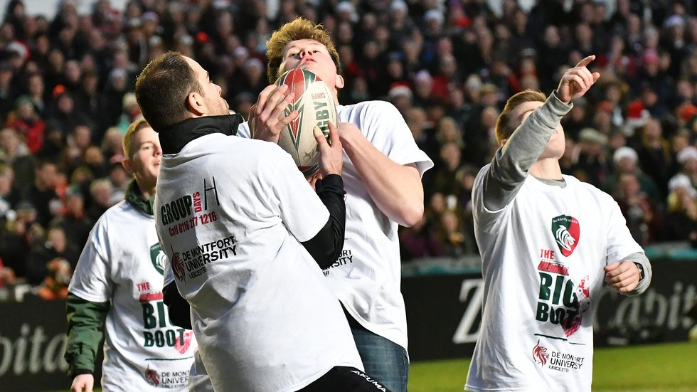 Safe catch as part of The Ultimate Big Boot at half-time