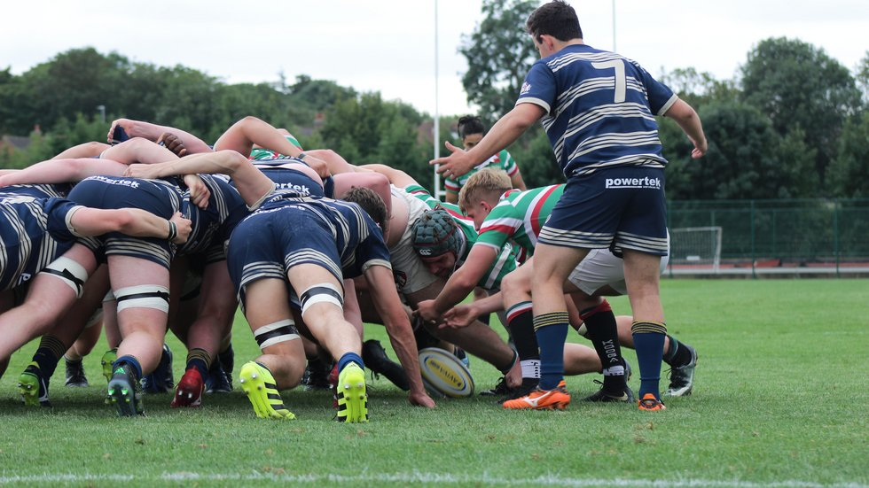 Tigers Academy scrum-half Jonny Law feeds the ball in to a scrum 5m out from the Bristol try-line