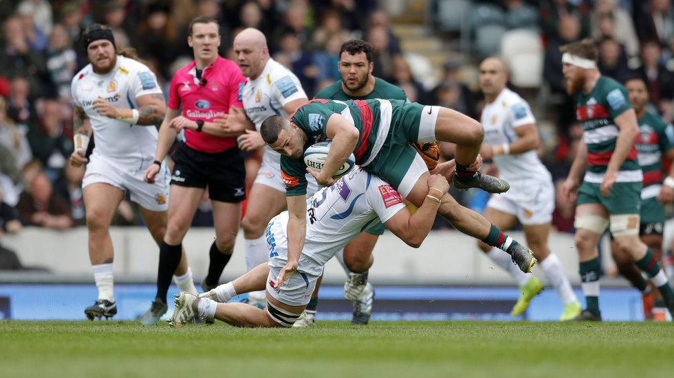 Jonny May is brought down by the Exeter defence on a tough afternoon at Welford Road
