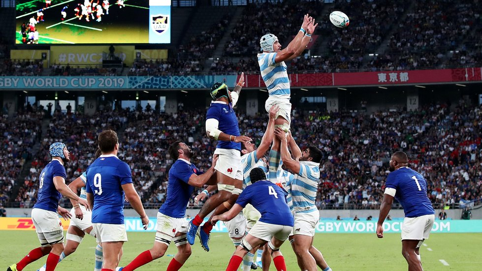 Argentina lock Tomas Lavanini wins a line-out against France in their Rugby World Cup 2019 fixture in Japan