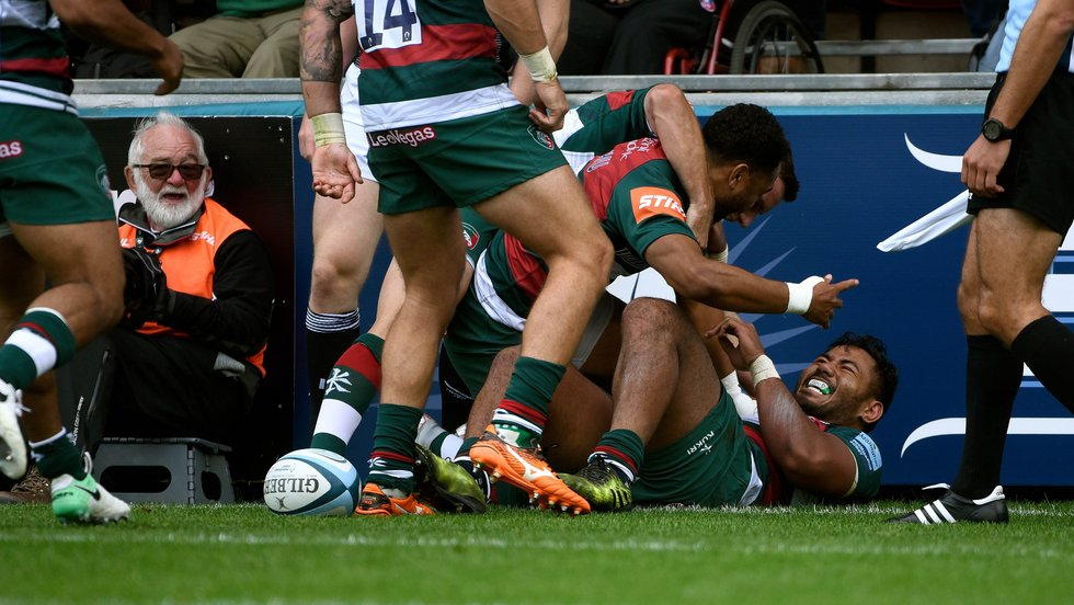 Celebrations for tryscorer Manu Tuilagi in the home win over Newcastle Falcons