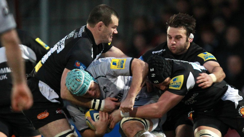 Two-try Jordan Crane on the ball in the away win over Exeter Chiefs at New year in 2011