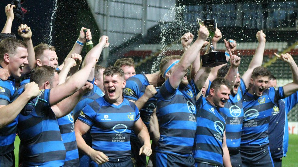 The celebrations begin at the final whistle for County Cup winners Syston at Welford Road