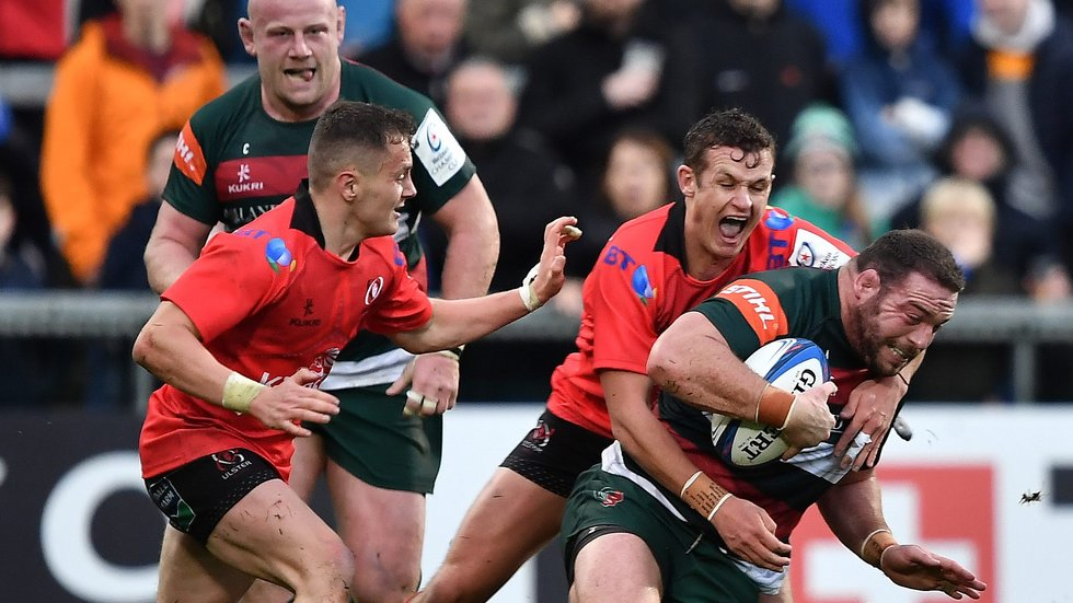Greg Bateman is brought down by Ulster fly-half Billy Burns in the opening round of the Champions Cup in Belfast