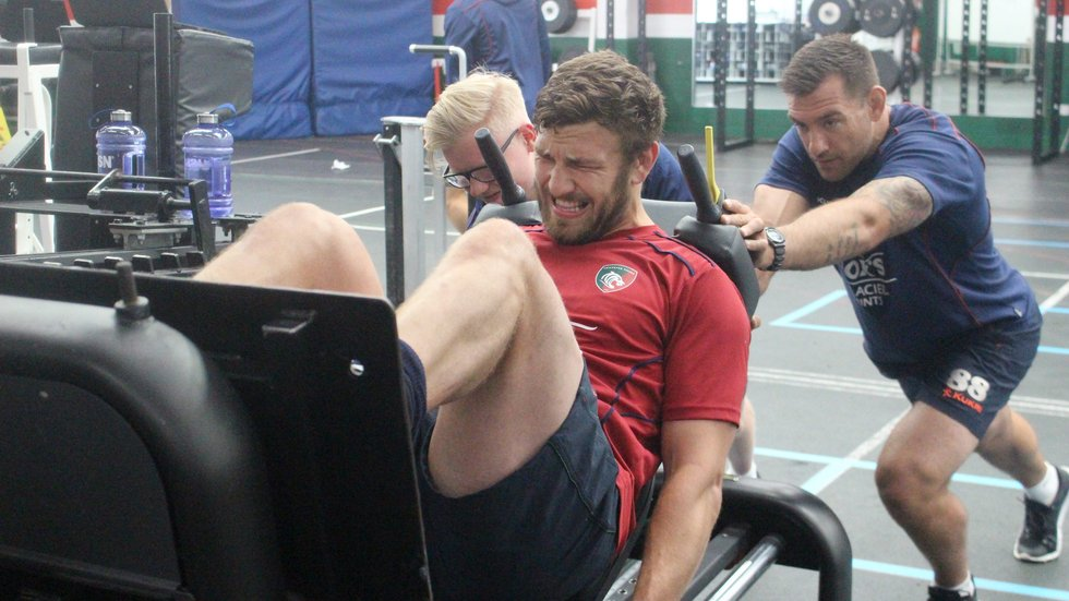 Harry Wells 'feeling the burn' of pre-season training in the gym at the club's Oval Park Training Ground.