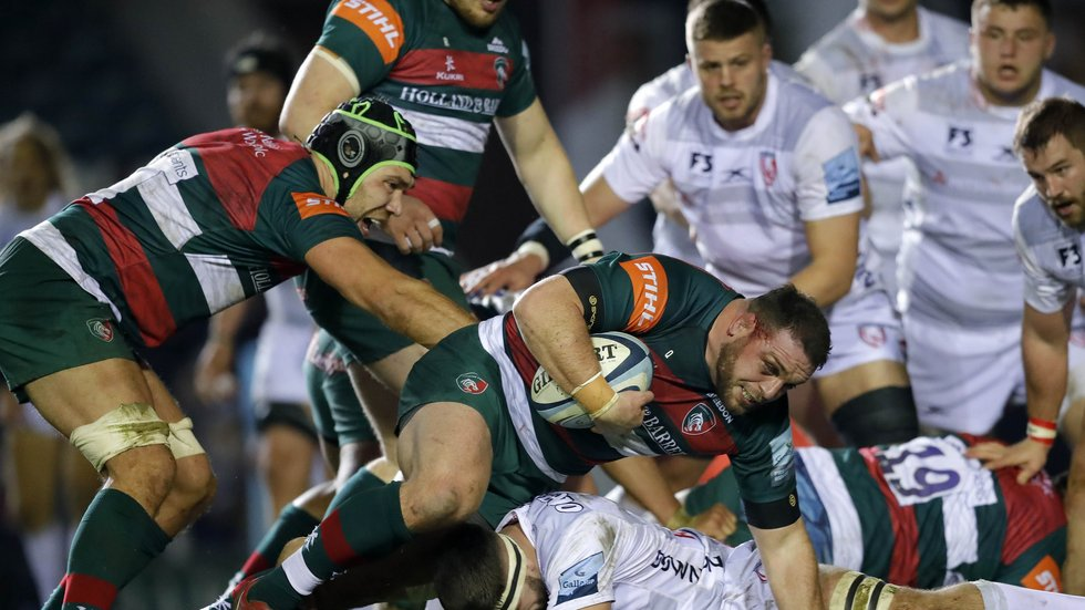 Greg Bateman takes control of the ball in last season's Welford Road win over Gloucester