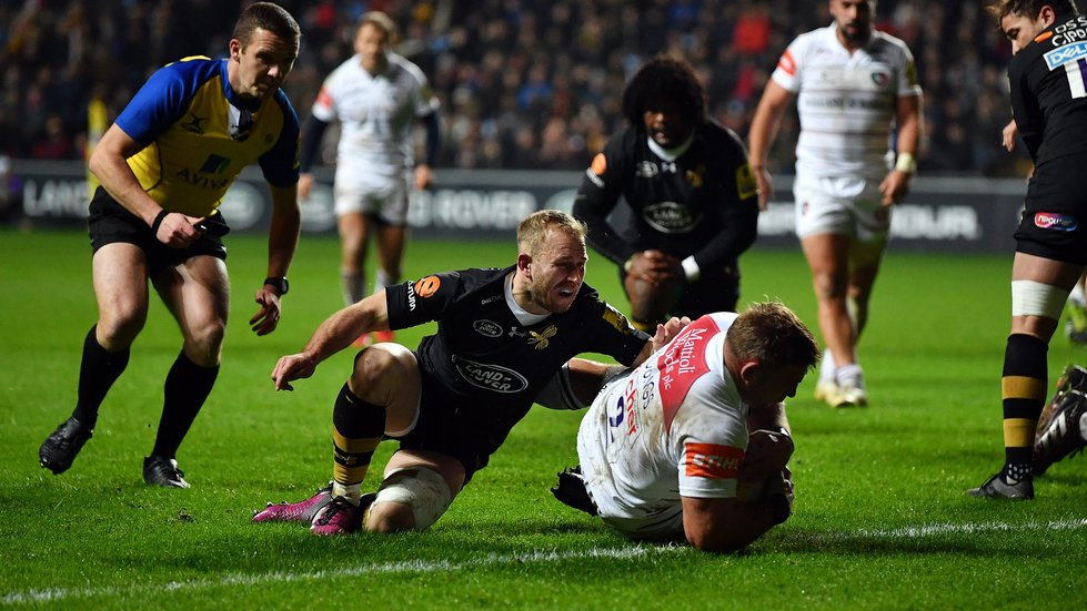 Tom Youngs scores for Tigers during the away game against Wasps last season