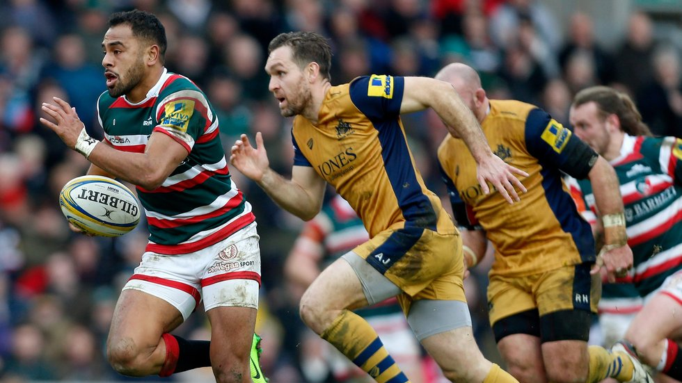 Telusa Veainu makes a break during Bristol's most recent visit to Welford Road