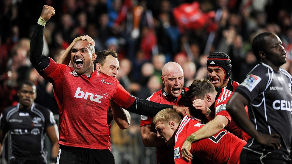 Nadolo and future Tigers team-mate Jordan Taufua [far right] playing for the Crusaders in Super Rugby