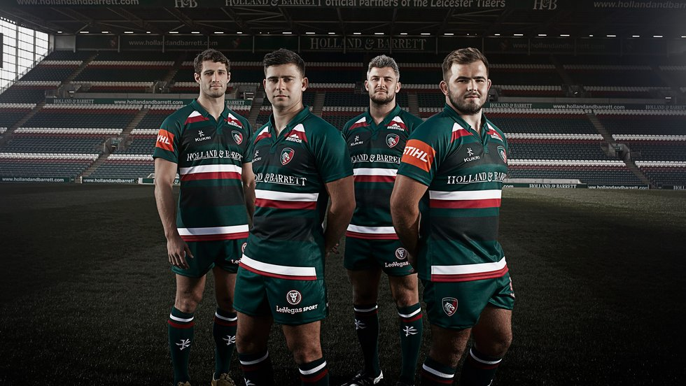 New Leicester Tigers Rugby Shirt Jersey Men/'s Kukri 2017-18 Home Shirt Green