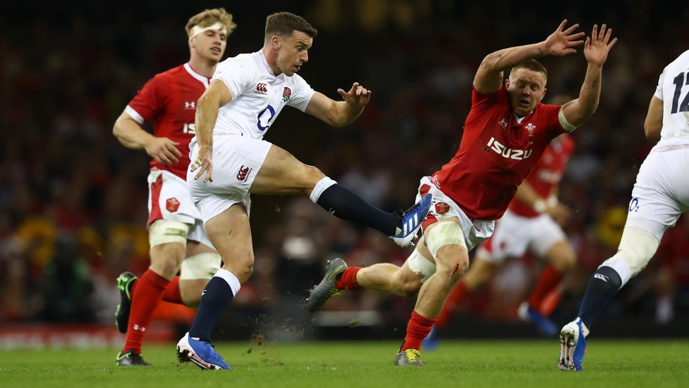 Leicester Tigers fly-half George Ford kicks during England's loss to Wales in Cardiff