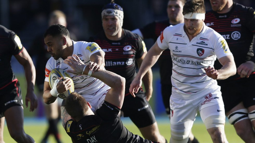Telusa Veainu on the attack during a bonus-point win at Saracens in February 2018