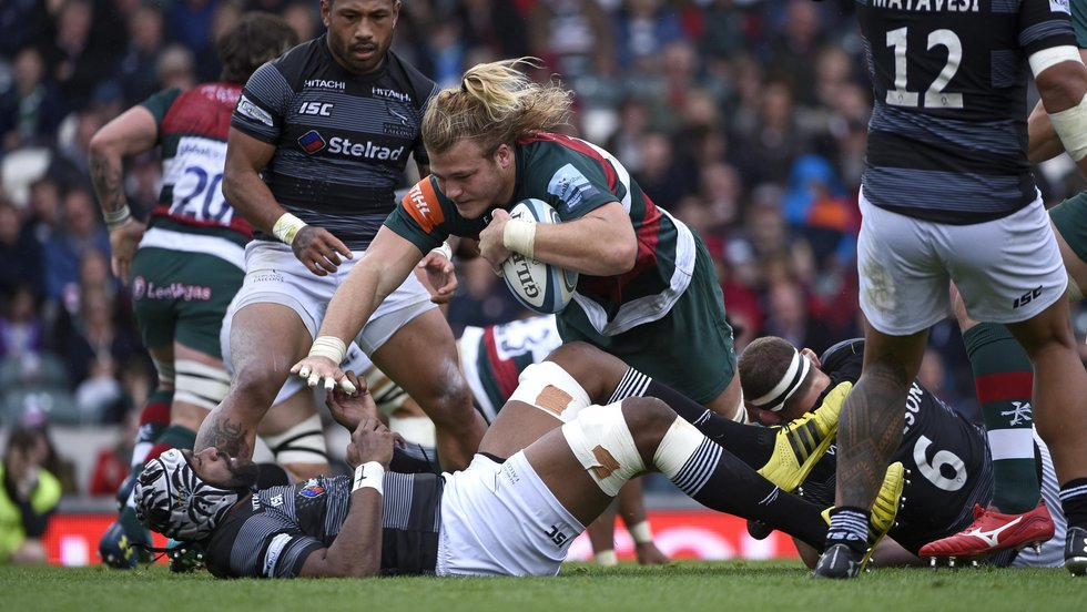 David Denton gets the Tigers on the front foot in attack against Newcastle at Welford Road