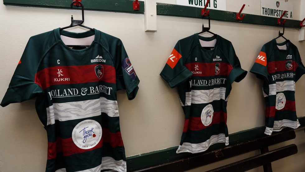 The shirts carried the Poppy Appeal 'Thank You' logo for the Cup game against Sale Sharks