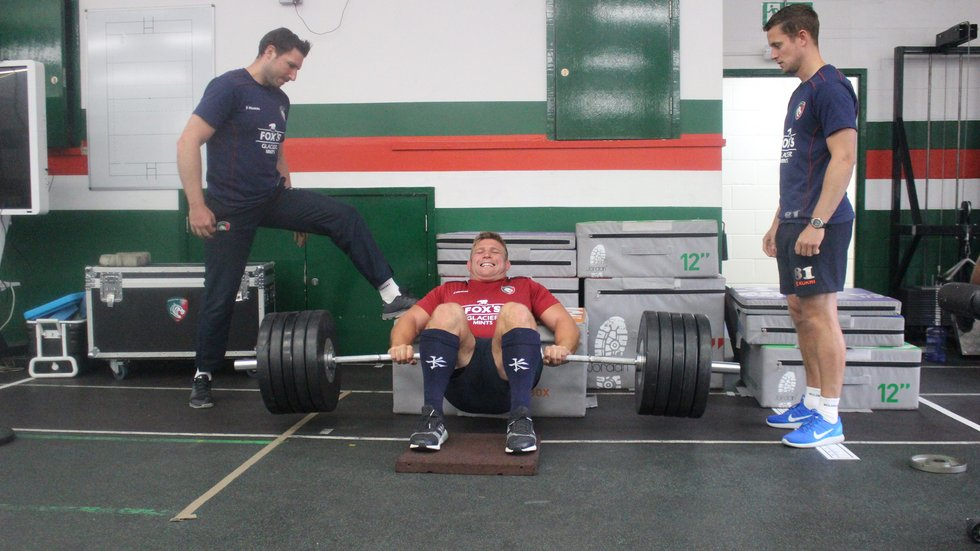 Tom Youngs putting in the effort during pre-season training in the gym at the club's Oval Park Training Ground.