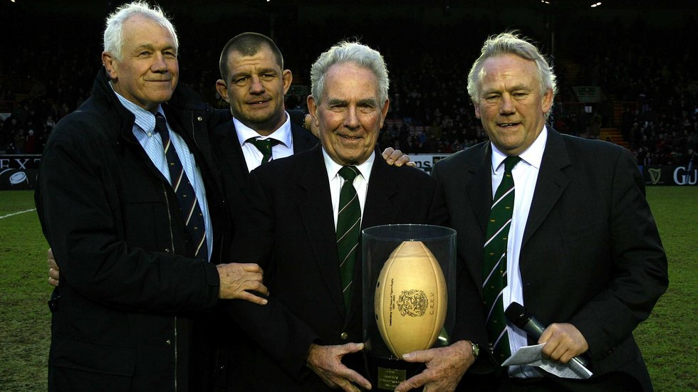 Peter Tom, former Tigers prop Alex Moreno and Peter Wheeler made the presentation of Life Membership to Tudor Thomas at Welford Road