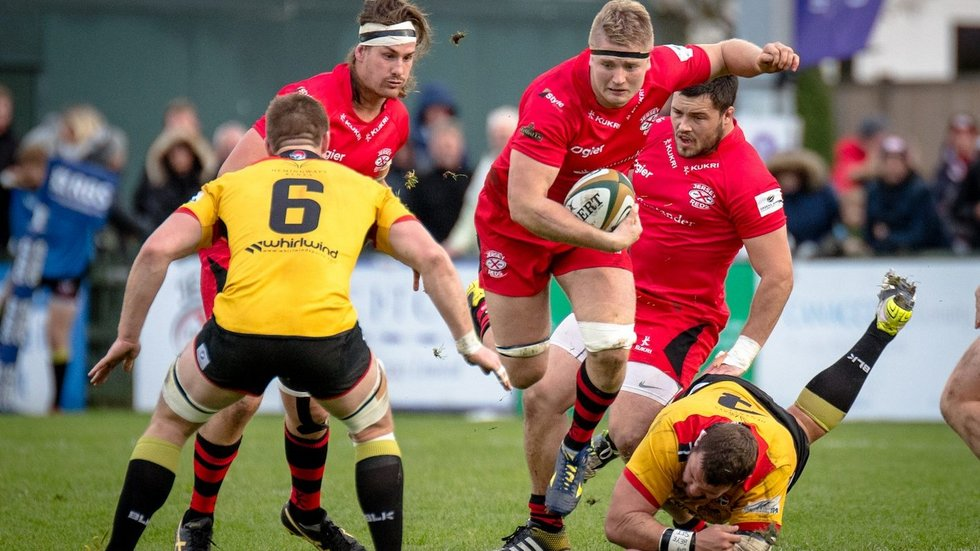 James Voss in action with jersey reds before agreeing a move to Leicester