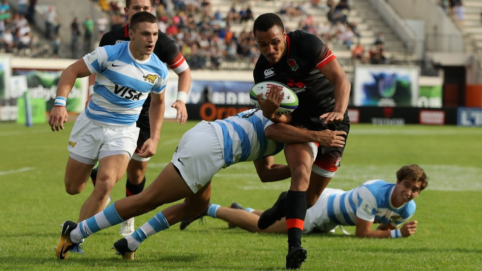 Jordan Olowofela scored two of the tries as England got off to a perfect start at the Under-20s