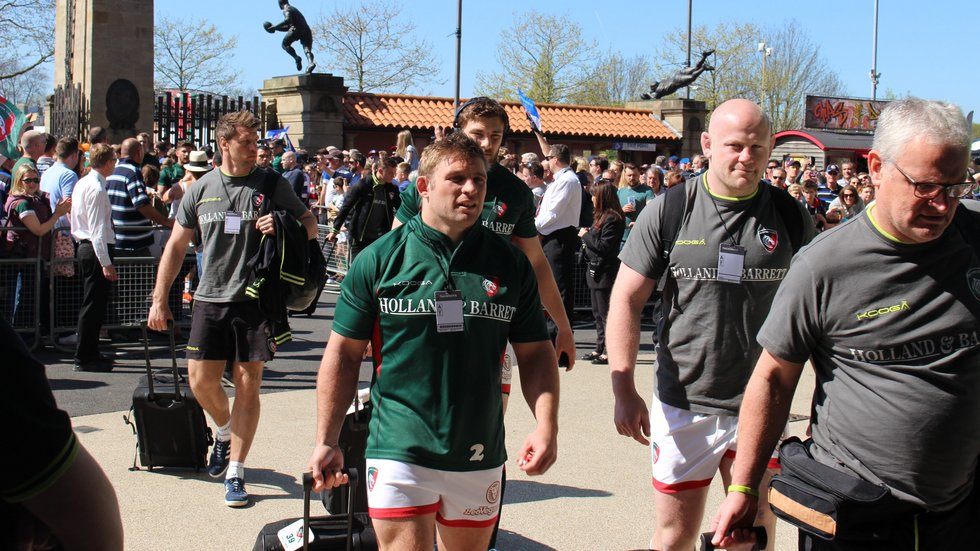Tom Youngs leads Tigers through the crowd into Twickenham for the 2017 Clash with Bath