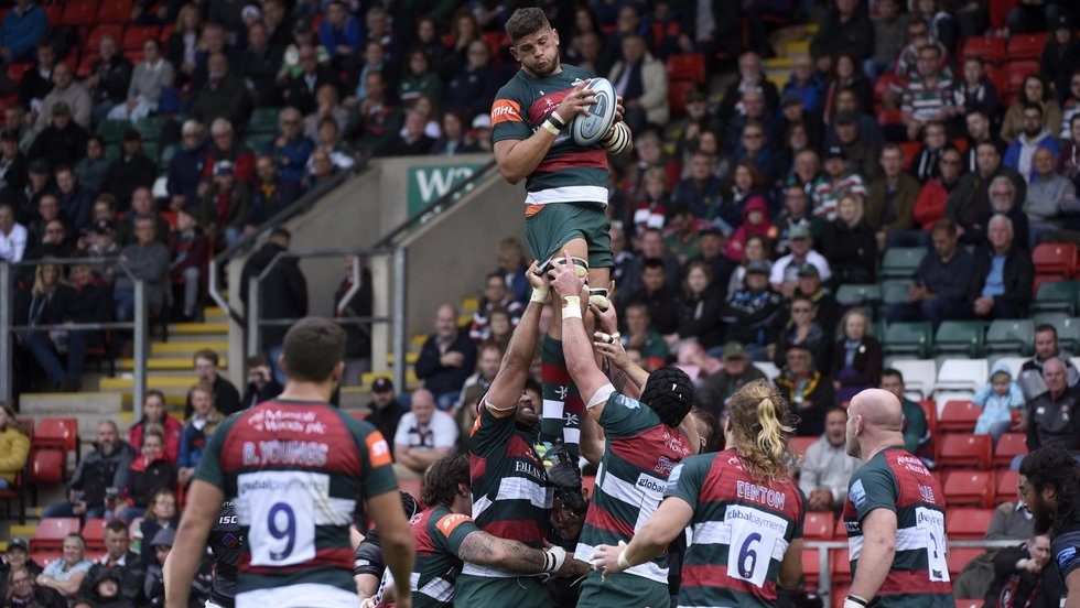 Mike Williams flying high in a line out against Newcastle at Welford Road