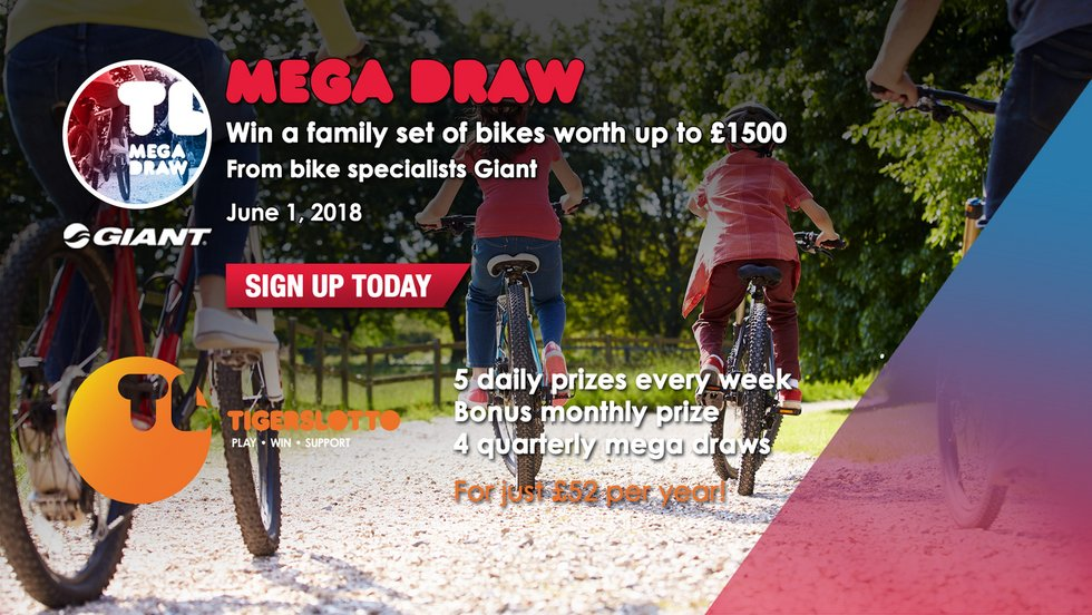 The next TigersLotto Mega Draw takes place on June 1 when a family set of bikes, plus accessories, worth around £1,500 is the prize