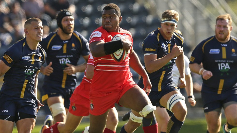 Tigers back-rower Ifereimi Boladau on the run in the Premiership meeting at Sixways earlier this season