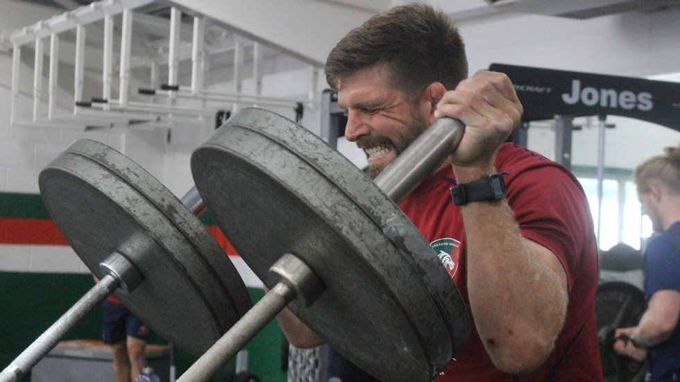 Mike Fitzgerald showing the pain of pre-season in the gym at the club's Oval Park Training Ground.