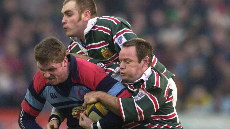 Andy Goode and Pat Howard combine during the home win over Glasgow Caledonians