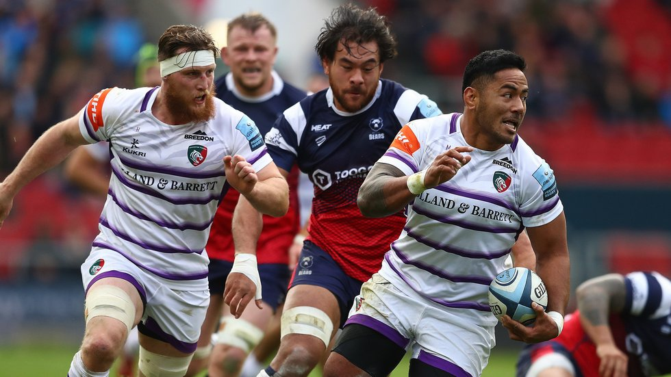 Brendon O'Connor and Manu Tuilagi on the attack in the first meeting with Bristol this season
